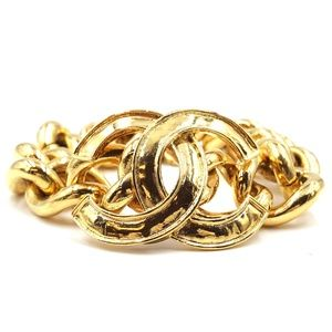 Gold Ultra Rare Cc Wide Chain Cuff Bracelet